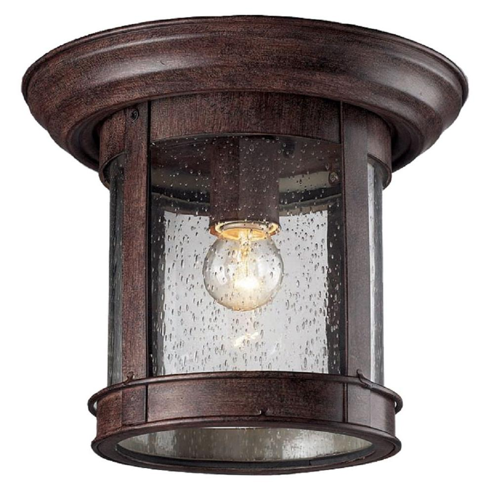 Lawrence Collection Outdoor Weathered Bronze Flush Mount