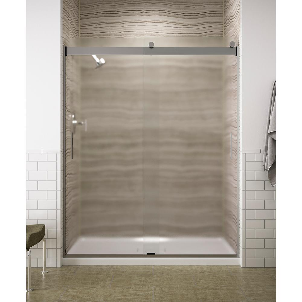 Kohler Levity 59 In X 74 Semi Frameless Sliding Shower Door Silver With Handle