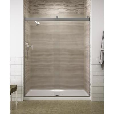 Levity 59 in. x 74 in. Semi-Frameless Sliding Shower Door in Silver with Handle