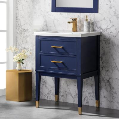 Clara 24 in. W x 18.5 in. D Bath Vanity in Blue with Porcelain Vanity Top in White with White Basin