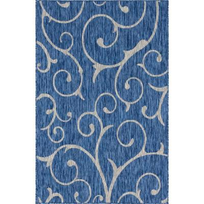 Outdoor Curl Azure Blue 9 ft. x 12 ft. Area Rug