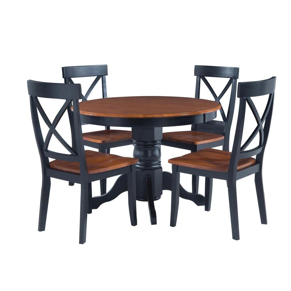 5 Piece Black And Oak Dining Set