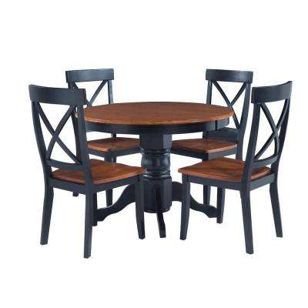 5-Piece Black and Oak Dining Set