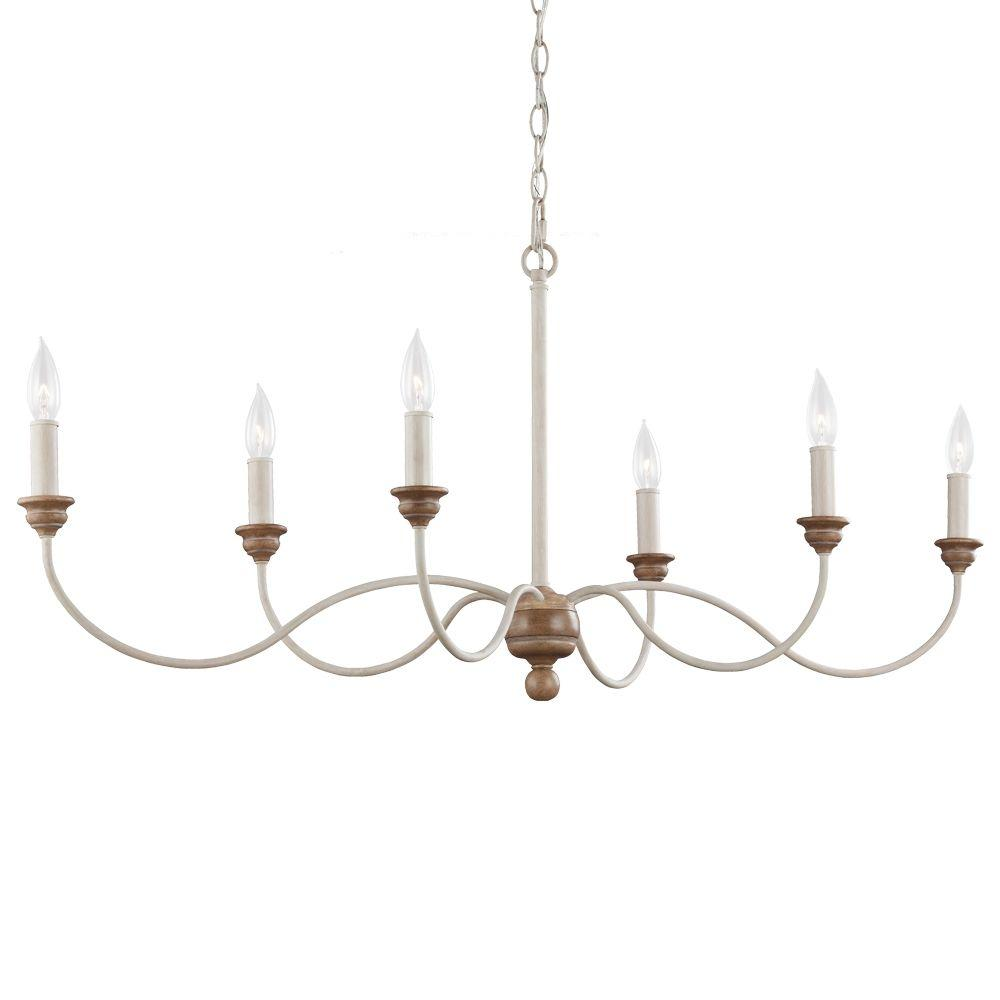 Feiss Hartsville 42.5 in. W 6-Light Chalk Washed White/Light Brown Beachwood Linear Country Coastal Farmhouse Chandelier
