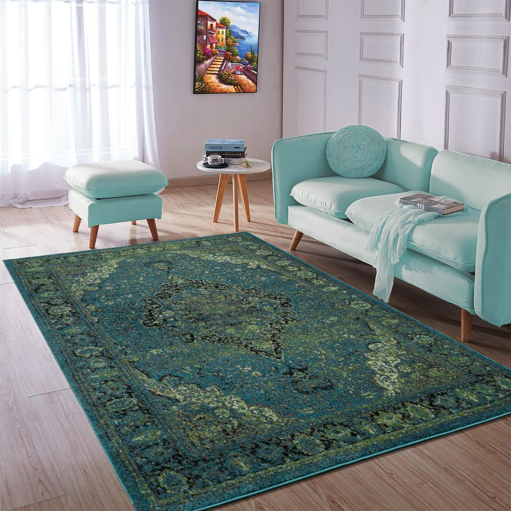 City Collection Seafoam Medallion 5 Ft X 7 Ft Indoor