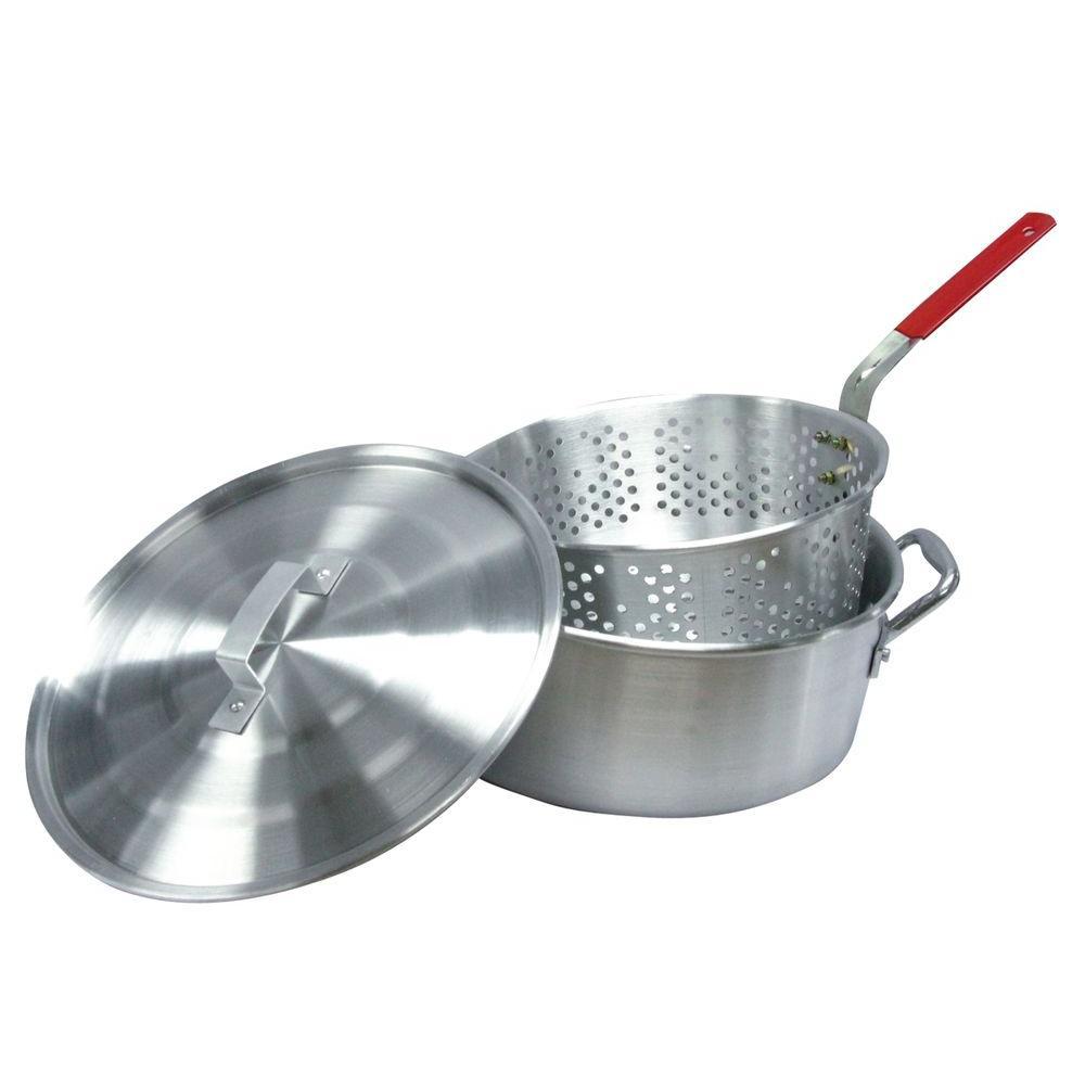RiverGrille 10.5 qt. Aluminum Fryer Pot with Strainer