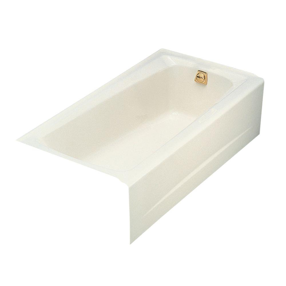 KOHLER Mendota 5 Ft. Right DrainCast Iron Integral Farmhouse Rectangular  Alcove Bathtub In Biscuit