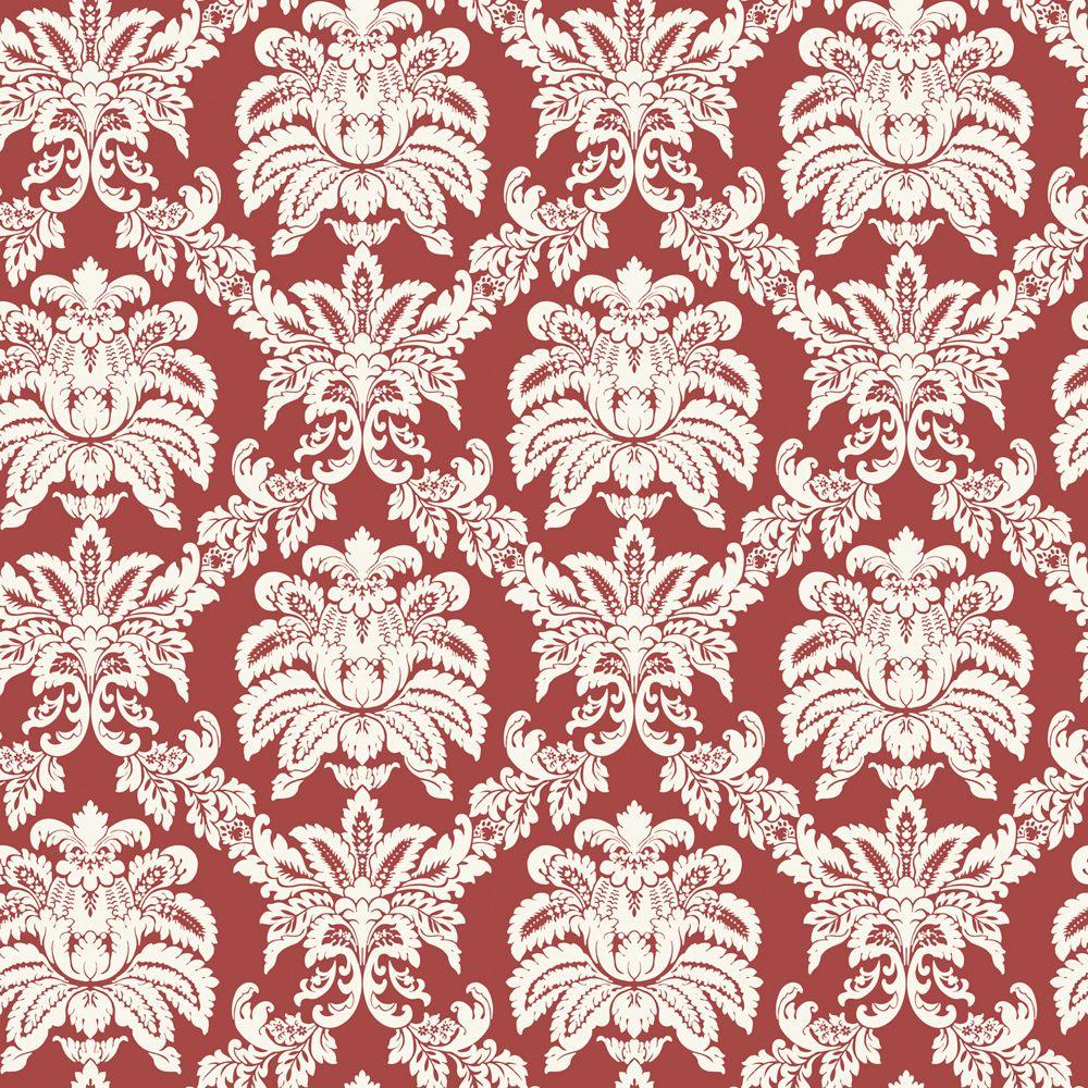 The Wallpaper Company 8 in. x 10 in. Red Sweeping Damask Wallpaper Sample-DISCONTINUED
