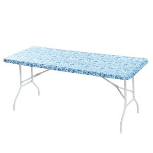 30x72'' Cotton Fabric Fitted Table Cover, Blue Mosaic