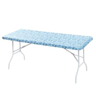 """30x72"""" Cotton Fabric Fitted Table Cover, Blue Mosaic"""