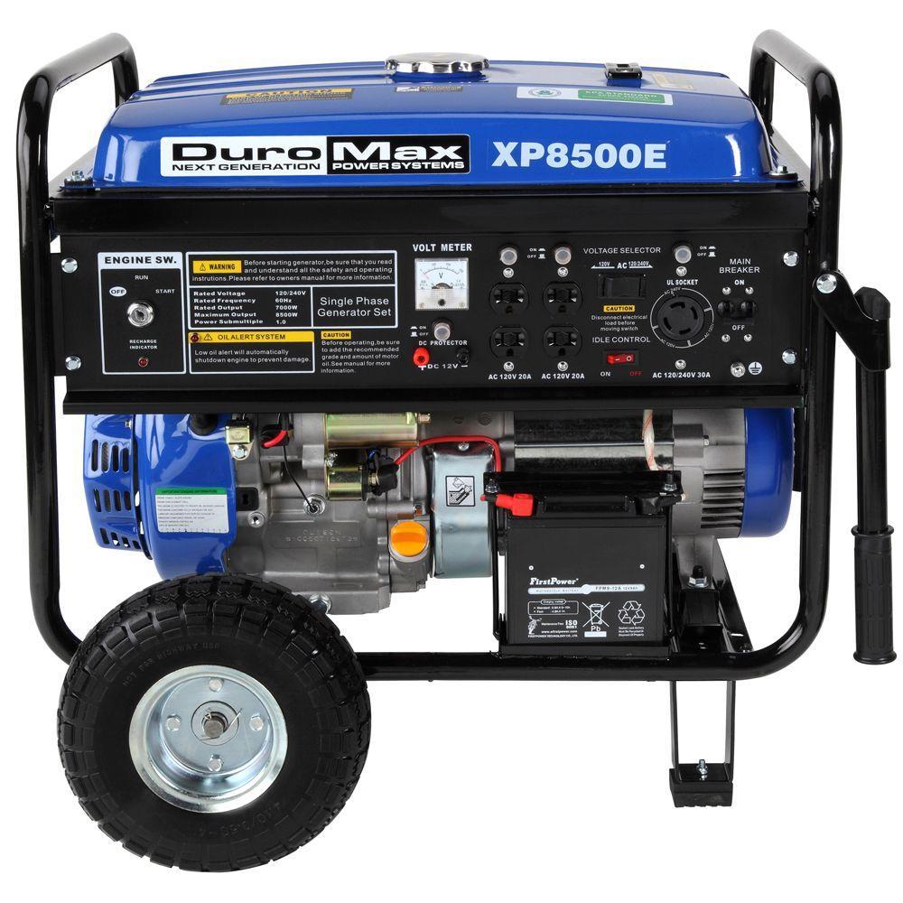 Duromax 8,500-Watt Gasoline Powered Electric Start Portable Generator with Wheel Kit