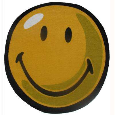 Smiley Yellow 3 ft. Round Area Rug