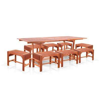 Malibu Wood 9-Piece Outdoor Dining Set with Extension Table with Stool