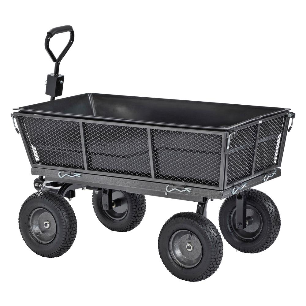Muscle Carts 1,200 Lbs. Capacity Steel Dump Cart With Removable Sides And  Full Bed Liner/Cover