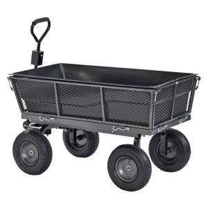 Muscle Carts 1,200 lbs. Capacity Steel Dump Cart with Removable Sides and Full...