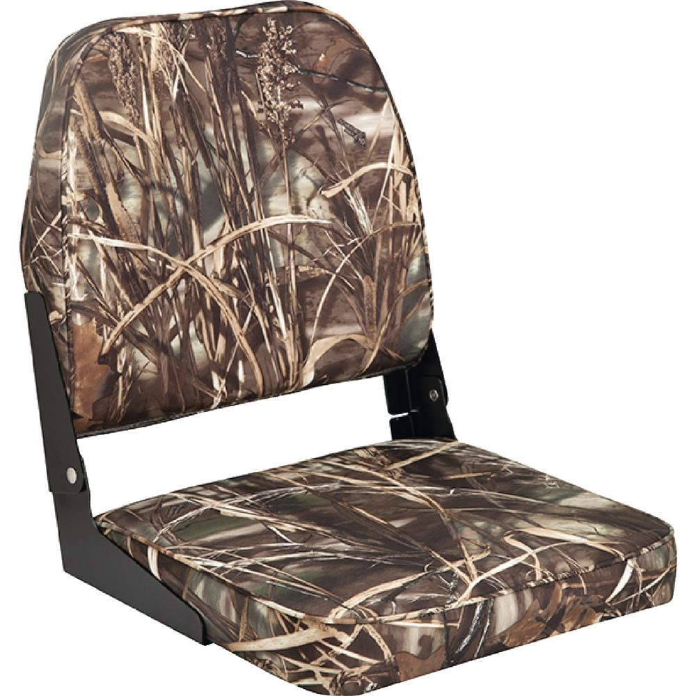 Attwood Boat Seat, Camo This seat features a high impact plastic frame. Aluminum hinges. UV resistant.