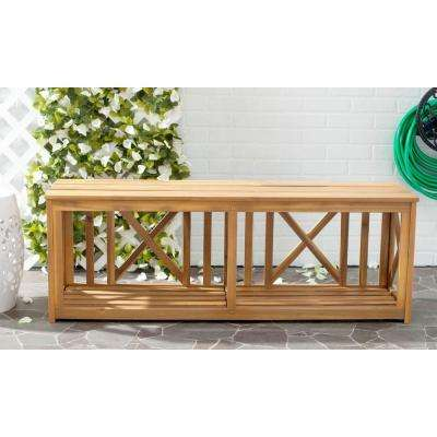 Branco Natural Brown Acacia Wood Patio Bench