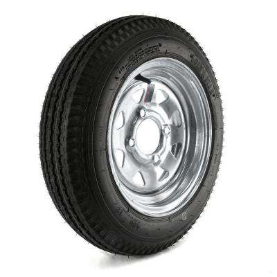 480-12 Load Range B 4-Hole Galvanized Spoke Trailer Tire and Wheel Assembly
