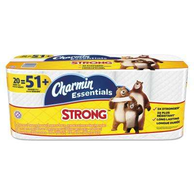 1-Ply 4 in. x 3.92 ft. Essentials Strong Bathroom Tissue (300/Roll, 20-Roll/Pack)