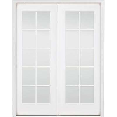 48 in. x 80 in. 10-Lite French White Primed Solid Core Wood Double Prehung Interior Door with Nickel Hinges