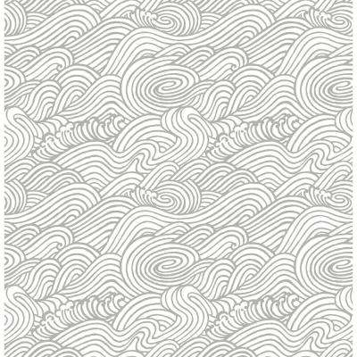 56.4 sq. ft. Mare Grey Wave Wallpaper