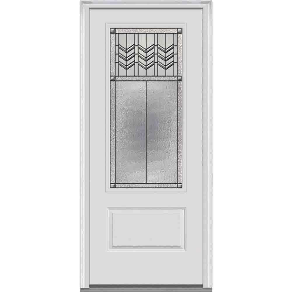 36 in. x 80 in. Prairie Bevel Right-Hand 3/4 Lite 1-Panel Classic Primed Fiberglass Smooth Prehung Front Door