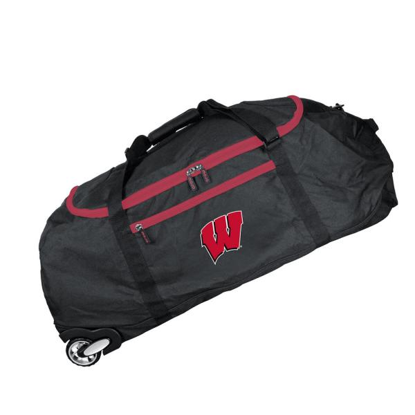 Denco NCAA Wisconsin 36 in. Checked-In Rolling Duffel in Black CLWIL801