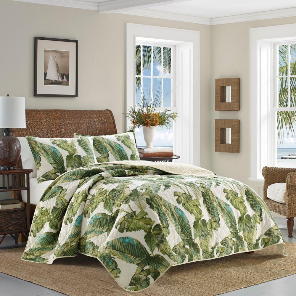 Fiesta Palms 2-Piece Green Cotton Twin Quilt Set