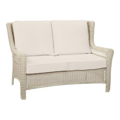 Park Meadows Off-White Wicker Outdoor Patio Loveseat with CushionGuard Almond Tan Cushions