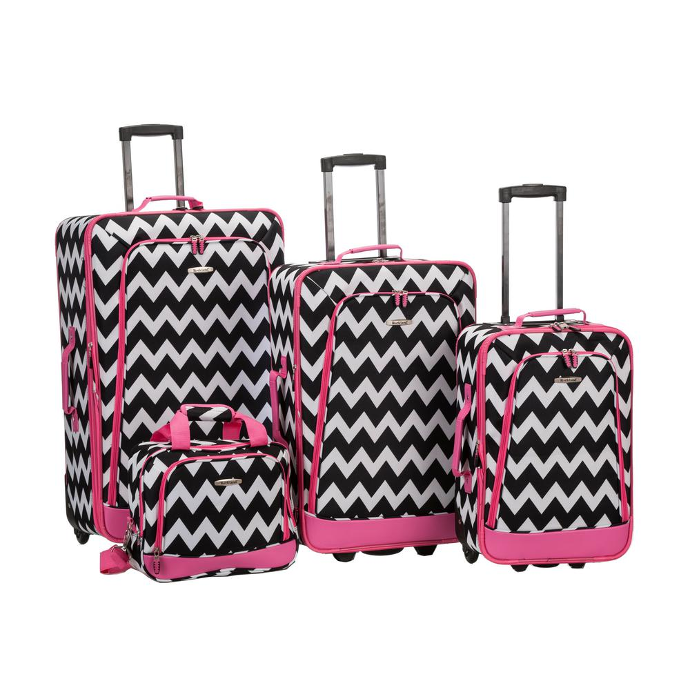 Rockland Beautiful Deluxe Expandable Luggage 4-Piece Softside Luggage Set, Pink Chevron, Pinkchevron was $239.0 now $143.4 (40.0% off)