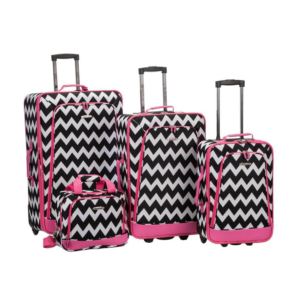Rockland Beautiful Deluxe Expandable Luggage 4-Piece Softside Luggage Set, Pink Chevron