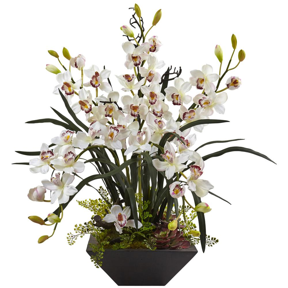 Nearly Natural Cymbidium Orchid with Black Vase-1404-WH - The Home on church flowers for vases, bridesmaid bouquets for vases, funeral flowers for vases, feather arrangements for vases, artificial flowers for vases, fairy lights for vases, party decoration for vases,
