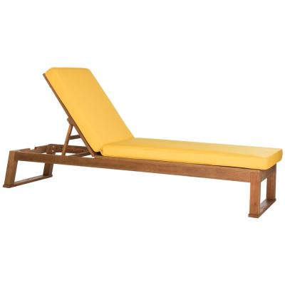 Solano Natural Brown 1-Piece Wood Outdoor Chaise Lounge Chair with Yellow Cushion
