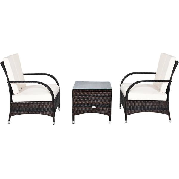 Island 3-Piece Wicker Patio Conversation Set with Beige Cushions