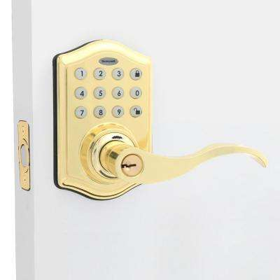 Polished Brass Keypad Electronic Door Lever Entry Lock with Alarm
