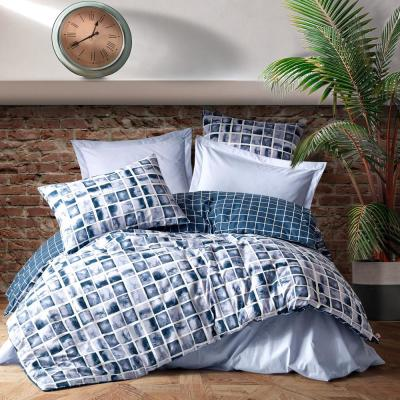 Blue Creation Cotton Duvet Cover Set, Queen Size Duvet Cover, 1 Duvet Cover, 1 Fitted Sheet and 2 Pillowcases, Iron Safe