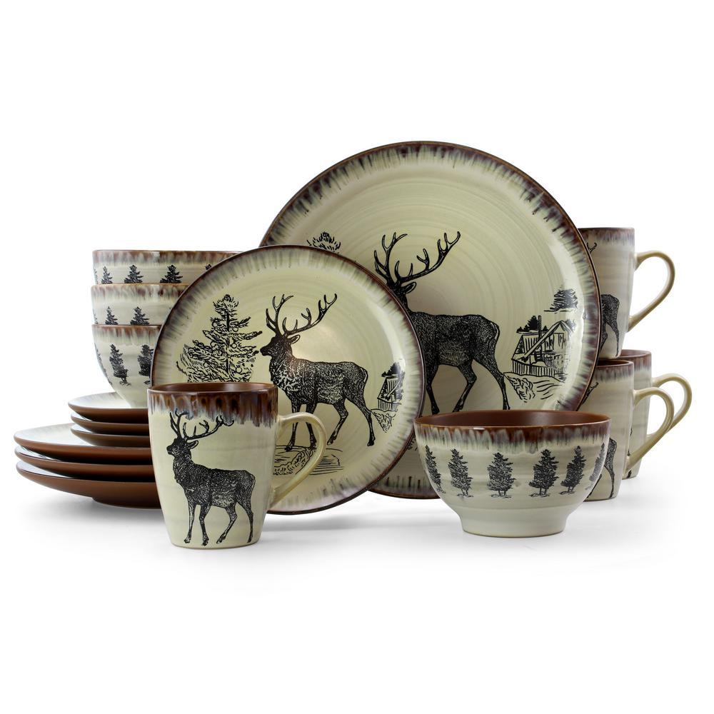 Majestic Elk 16-Piece Taupe Stoneware Dinnerware Set (Service for 4)