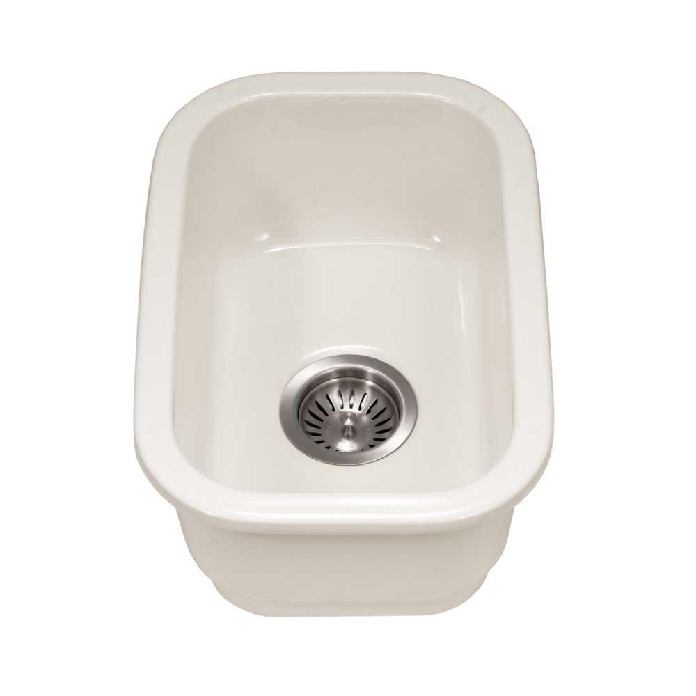 Platus Undermount Fireclay 13 in. Single Bowl Bar Sink in Biscuit