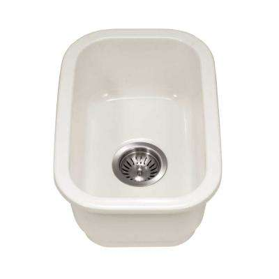 Platus Undermount Fireclay 13 in. Single Bowl Bar Sink in Biscuit with Rectangular Basin