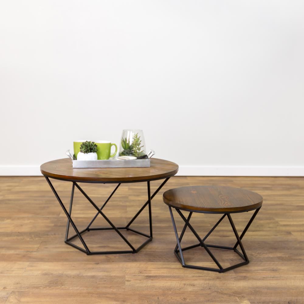 Walker Edison Furniture Company Geometric Wood Nesting Oak And Black Coffee Tables Hdf28clrgobl