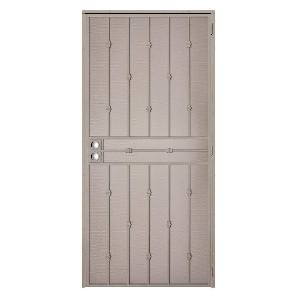 36 in. x 80 in. Cabo Bella Tan Surface Mount Outswing Steel Security Door with Fine-grid Steel Mesh Screen