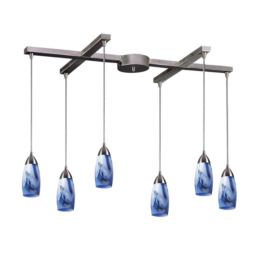 Milan 6-Light Satin Nickel Ceiling Pendant