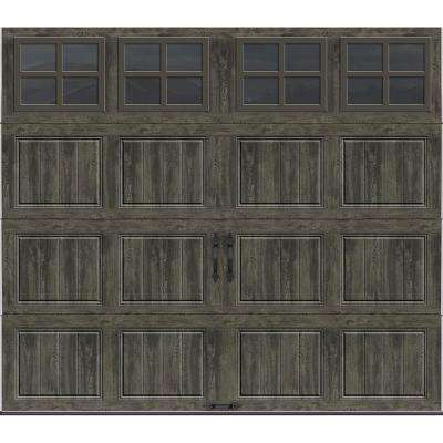Gallery Collection 8 ft. x 7 ft. 18.4 R-Value Intellicore Insulated Ultra-Grain Slate Garage Door with SQ22 Window