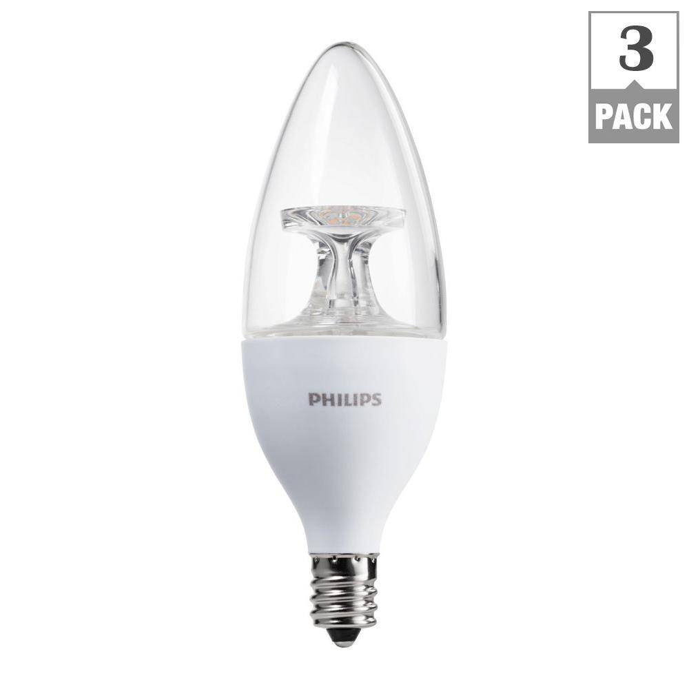Led Candelabra Light Bulbs: Philips 40W Equivalent Soft White B11 Candelabra Base LED