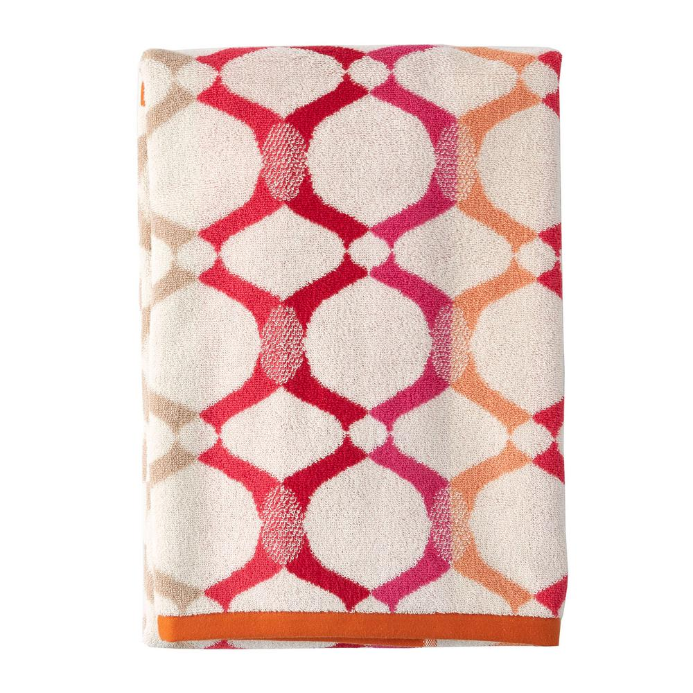 Helix Orange Geometric Cotton Fingertip Towel (Set of 2)