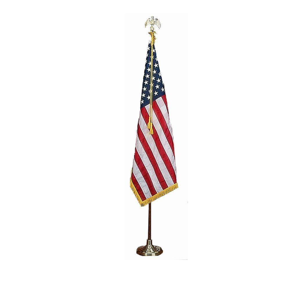 Deluxe 3 ft. x 5 ft. Nylon U.S. Flag Indoor Presentation Set with 7 ft. Oak Flagpole