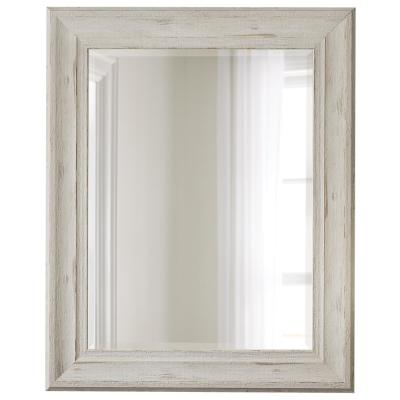 32 in. x 40 in. White Wood Tone Mirror