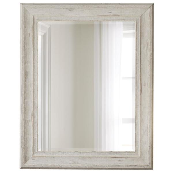Medium Rectangle White Beveled Glass Contemporary Mirror (40 in. H x 32 in. W)