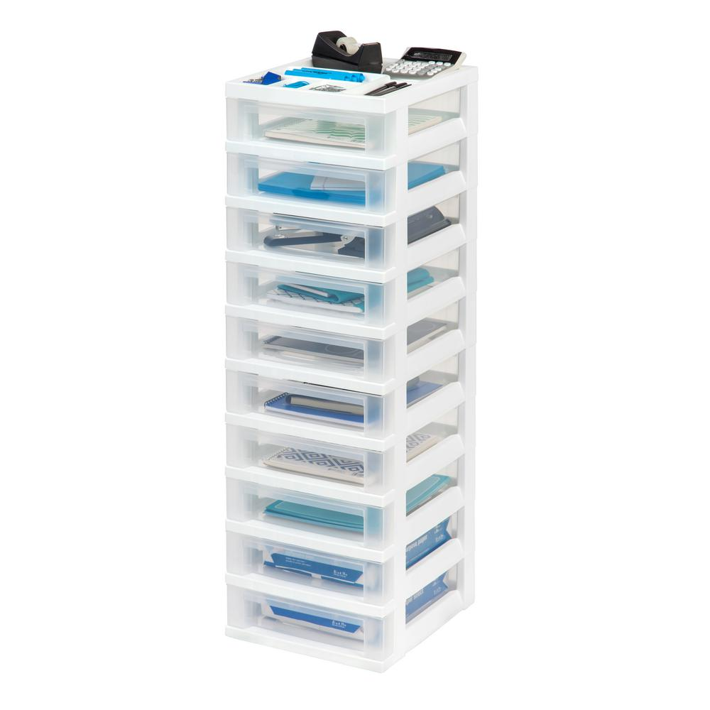 12.05 in. x 40 in. White 10-Drawer Storage Cart with Organizer