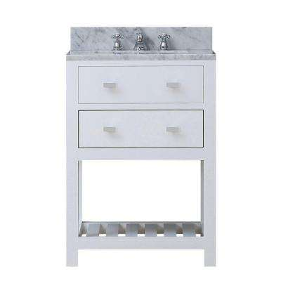 24 in. W x 21.5 in. D Vanity in White with Marble Vanity Top in Carrara White and Chrome Faucet